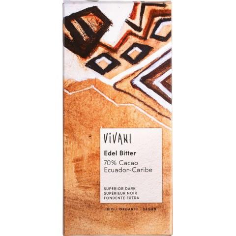 Suklaalevy Vivani tumma 70 % 100 g LUOMU