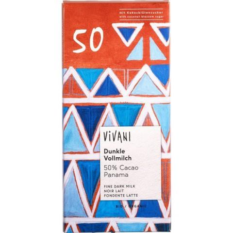 Suklaalevy Vivani tumma maitosuklaa 50 % kookossokerilla 80 g LUOMU